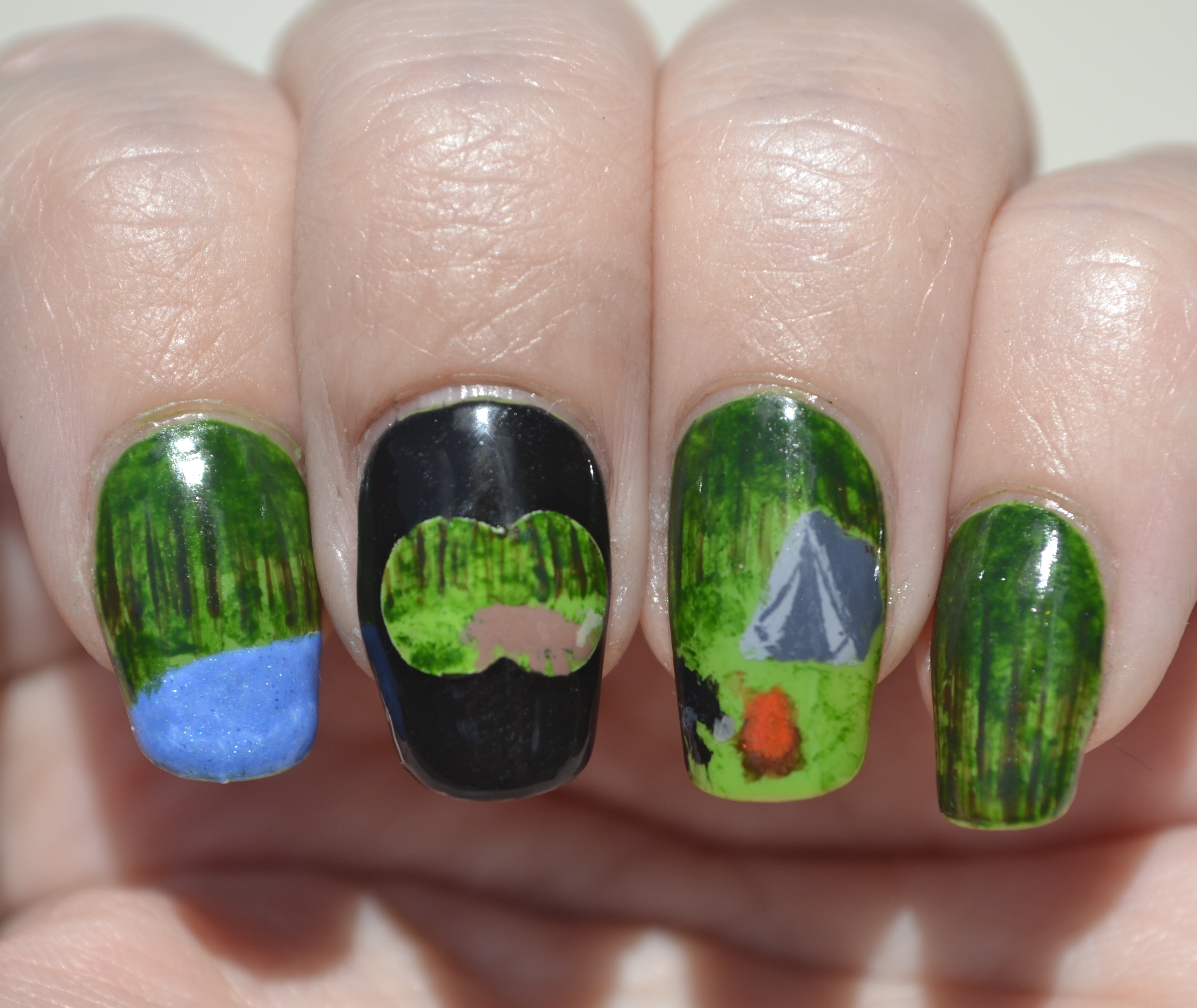 Challenge Your Nail Art Lets Go Camping Theme Nature Nails The